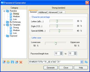 Встроенный мощный генератор паролей