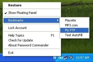 Доступ к паролям через системное меню