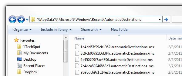 Исправляем Windows 7 Jump Lists