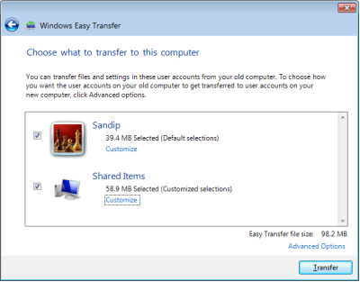 Перенос файлов на Windows 7